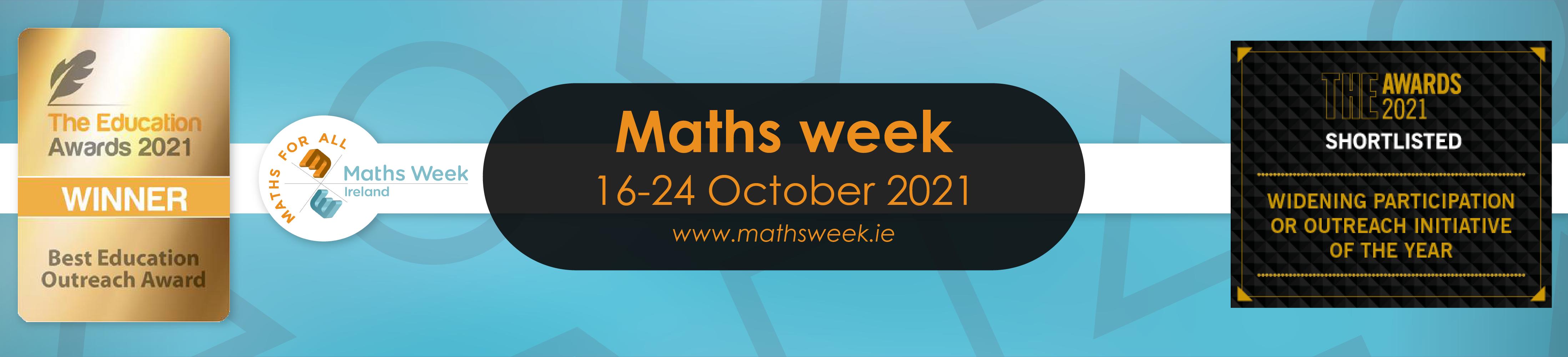 Maths week banner with awards September 2021